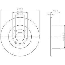 TEXTAR 92075700 (569210 / 4839338 / 90512910) диск торм. зад. [286x10] 5 отв. Opel (Опель) vectra b 1.8-2.6 (цена за 1 шт., к-кт 2 шт.)
