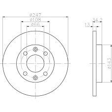 TEXTAR 92092803 (4246R8 / 4246R9 / 4249A5) диск тормозной передний\ Peugeot (Пежо) 206, Citroen (Ситроен) Xsara (Ксара) 1.1 / 1.4 / 1.5d 97>