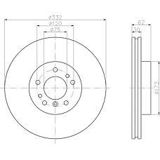 TEXTAR 92107200 (34116750713 / 34116766036 / 34116794304) диск торм.пер.вент.[332x30] 5 отв. BMW (БМВ) x5 mot.m54306s3 / m62b44