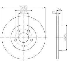 TEXTAR 92109703 (4176921 / 4179406 / 4098428) диск тормозной   зад прав / лев   Ford Mondeo III (00-) R