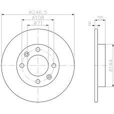 TEXTAR 92111700 (4246W9 / 4246X8 / 424953) диск торм. Peugeot (Пежо) 307 / partner Citroen (Ситроен) c2 / c3 / c4 задний. 1 шт (min 2 шт)