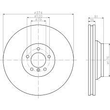 TEXTAR 92123003 (34116766107 / 34116753091) Диск тормозной передний вент.[374x36] 5 отв.