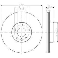 TEXTAR 92132200 (4F0615301D) диск торм.пер. вент.[314х25] 5 отв.audia6 2.0tdi / 2.4 05 / 04->