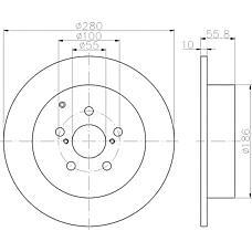 TEXTAR 92135703 (4243105030 / 4243105060 / 42431YZZAA) диск тормозной | зад прав / лев | TOYOTA Avensis (03-)