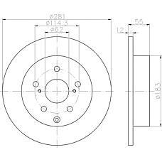 TEXTAR 92162100 (4243142060) диск торм. Toyota (Тойота) Rav 4 (Рав 4) 05- задний 1 шт (min 2 шт)