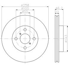 TEXTAR 92164200 (435120D060 / 09A91314) диск тормозной передний\ Toyota (Тойота) Yaris (Ярис) 1.0 / 1.3 06>