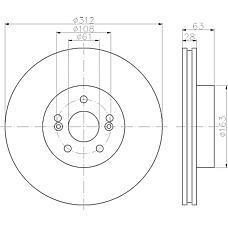 TEXTAR 92167700 (7701208130 / 8200266743) диск торм. Renault (Рено) Megane (Меган) 02- перед. вент. 1 шт (min 2 шт)