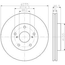 TEXTAR 92232703 (4351242040 / 4351242080) диск торм. Toyota (Тойота) Rav 4 (Рав 4) 05> 2.4 перед. вент. 1 шт (min 2 шт)