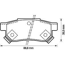 BENDIX 571977B (06022SP8000 / 43022SR3000 / GBP90316AF) колодки дисковые задние\ Honda (Хонда) Civic (Цивик) 1.4-1.6 87-01 / Prelude (Прелюд) 2.0 88-92
