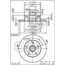 BREMBO 08.5005.20 (357615601B / 357615601A / 230312) диск тормозной