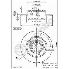 BREMBO 08.5775.10 (443615601B / 34111152089 / 34111100541) диск тормозной задний\ Audi (Ауди) 100 / 200 / a8 1.8-2.8 83-00