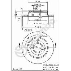 BREMBO 08.6903.14 (1E0333251 / 1013581 / 1112542) диск тормозной передний\ Ford (Форд) Fiesta (Фиеста) 1.2-1.8 95>