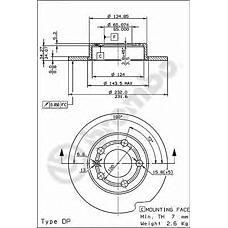 BREMBO 08.7165.11 (1J0615601 / 1J0615301 / 1J0615601C) диск тормозной | зад | AUDI A1 (8X1, 8XF) (05/10-) R / AUDI A1 Sportback (8XA, 8XK) (11/11-) R / AUDI A3 (8L1) (09/96-05/03) R / AUDI TT (8N3) (10/98-06/06) R / AUDI TT Roadster (8N9) (10/99-06/06) R