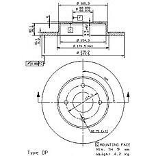 BREMBO 08.9461.10 (4320699J04 / 230672 / 5393) диск тормозной задний\ Nissan (Ниссан) Primera (Примера) 1.6-2.0td 98>