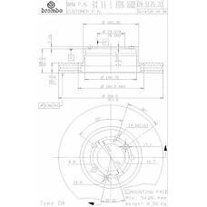 BREMBO 09.5175.20 (34111159896 / 34111158038 / 34116756090) диск тормозной передний\ BMW (БМВ) e32 / e34 3.0-5.0 m30 / m60 / m70 86-97