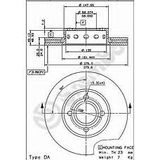 BREMBO 09.5724.10 (895615301B / 8A0615301C / 561692J) диск тормозной передний\ Audi (Ауди) 80 2.8 91-96