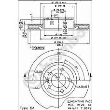 BREMBO 09.5749.10 (569044 / 90392559 / 90344650) диск тормозной передний\ Opel (Опель) Omega (Омега) 2.0-3.2 94>