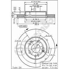 BREMBO 09.6745.10 (1244212412 / 561874) диск тормозной передний mb w124 2.8 / 3.2 / 4.0 92>