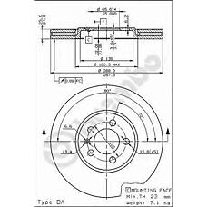 BREMBO 09.6747.10 (3A0615301A / 3A0615301 / 561856J) диск тормозной передний\VW Golf (Гольф) / Passat (Пассат) 2.0 / 2.9 / 1.9tdi 94>