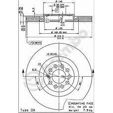 BREMBO 09.7880.11 (8N0615301A / 8L0615301 / 8L0615301A) диск тормозной