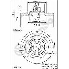 BREMBO 09.9177.10 (93175606 / 569005 / 24435132) диск тормозной передний\ Opel (Опель) signum / vectra 3.2 / 3.0cdti v6 02>