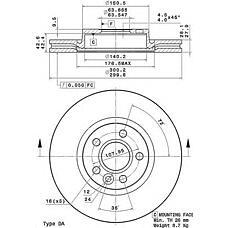 BREMBO 09.A427.11 (LR000571 / 1500158 / 1379965) диск тормозной | перед | FORD GALAXY (05/06-) F / FORD MONDEO IV (03/07-) F / FORD MONDEO IV Saloon (03/07-) F / FORD MONDEO IV Turnier (03/07-) F / FORD S-MAX (05/06-) F / LAND ROVER FREELANDER 2 (FA_) (10