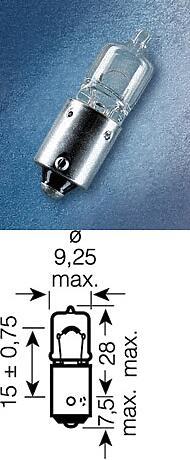 лампа (h6w) 12v 6w bax9s галогенная увелич. срок службы \