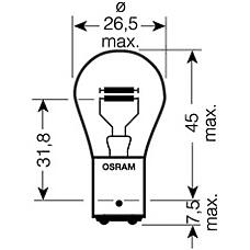 OSRAM 7538LDR  лампа diadem red pr21 / 5w 12v лампа доп. света (1 шт. в блистере) красная\