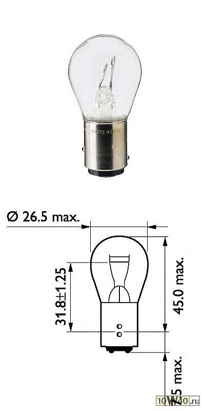 лампа 24v p21 / 5w 13499 bаy15d в блистере (уп. 2 шт.)