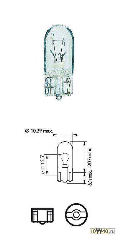 лампа 24v w5w 13961 5w w2.1x9.5d в блистере (уп. 2 шт.)