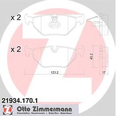 ZIMMERMANN 21934.170.1 (34211164501 / 34216761241 / 34216750190) колодки торм.зад. BMW (БМВ) 3 e46, Saab (Сааб) 9-5 r 98>