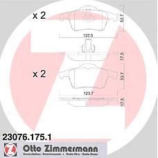 ZIMMERMANN 23076.175.1 (30648382 / 8634925 / 272399) колодки торм.зад. Volvo (Вольво) s60, s80, v70, xc70