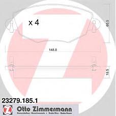 ZIMMERMANN 23279.185.1 (1126718 / C2S17129 / 1121894) колодки торм. перед. Ford (Форд) Mondeo (Мондео) III 1,8 / 2,0 / 2,5 11 / 00->