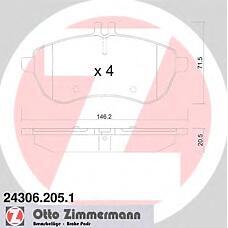 ZIMMERMANN 24306.205.1 (0054200820 / 0054200920 / 0054201520) КОЛОДКИ ТОРМ MERCEDES C-CLASS (W204) C-CLASS КУПЕ (C204) E-CLASS (W212) 2007-Н. В. ПЕРЕД