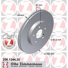 ZIMMERMANN 250.1344.20 (4181042 / 4179398 / C2S4566) Диск тормозной передний FORD/JAGUAR Coat Z