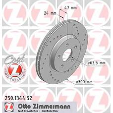 ZIMMERMANN 250.1344.52 (4179398 / 4181042 / 4097478) Торм.диск пер.вент.[300x24] 5 отв.[min 2] SPORT Coat Z