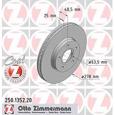 ZIMMERMANN 250.1352.20 (1320352 / 1223663 / 1373369) Диск тормозной передний FORD/VOLVO Coat Z