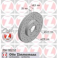 ZIMMERMANN 250.1352.52 (1320352 / 1223663 / 1373369) Торм.диск пер.вент.[278x25] 5 отв.[min 2] SPORT Coat Z