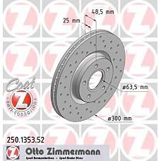 ZIMMERMANN 250.1353.52 (1223664 / 1323560 / 1373370) Диск тормозной передний FORD/VOLVO SPORT Coat Z