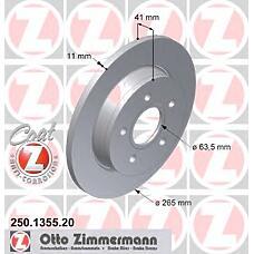 ZIMMERMANN 250.1355.20 (1223540 / 1223543 / 1320347) Диск тормозной задний FORD/VOLVO Coat Z