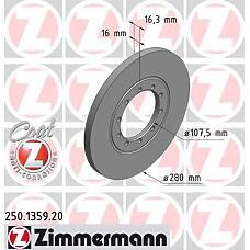 ZIMMERMANN 250.1359.00 (1371420 / 1464031) диск торм.зад. Ford (Форд) Transit (Транзит) 06>  не менее 2 единиц