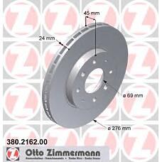 ZIMMERMANN 380.2162.00 (MR389725 / MR475331 / MB895098) диск торм.пер. Mitsubishi (Мицубиси) galant 01>  не менее 2 единиц