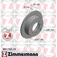 ZIMMERMANN 380.2165.00  Диск тормозной задний MITSUBISHI galant V-VI/lanser