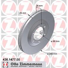 ZIMMERMANN 430.1477.00 (569050 / 8970340343 / 97034034) диск торм.пер. Opel (Опель) frontera, isuzu trooper 95>  не менее 2 единиц