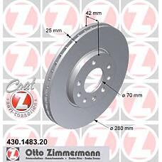 ZIMMERMANN 430.1483.20 (569060 / 9117678 / 90539466) Диск тормозной передний вент. OPEL Coat Z