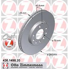 ZIMMERMANN 430.1498.20 (93171497 / 569003 / 9156807) Диск тормозной передний OPEL/SAAB/FIAT Coat Z
