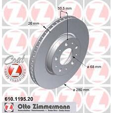 ZIMMERMANN 610.1195.20 (271788 / 2717882 / 9140759) диск торм.пер. Volvo (Вольво) 850, 960, c70, s70, v70, s90  не менее 2 единиц