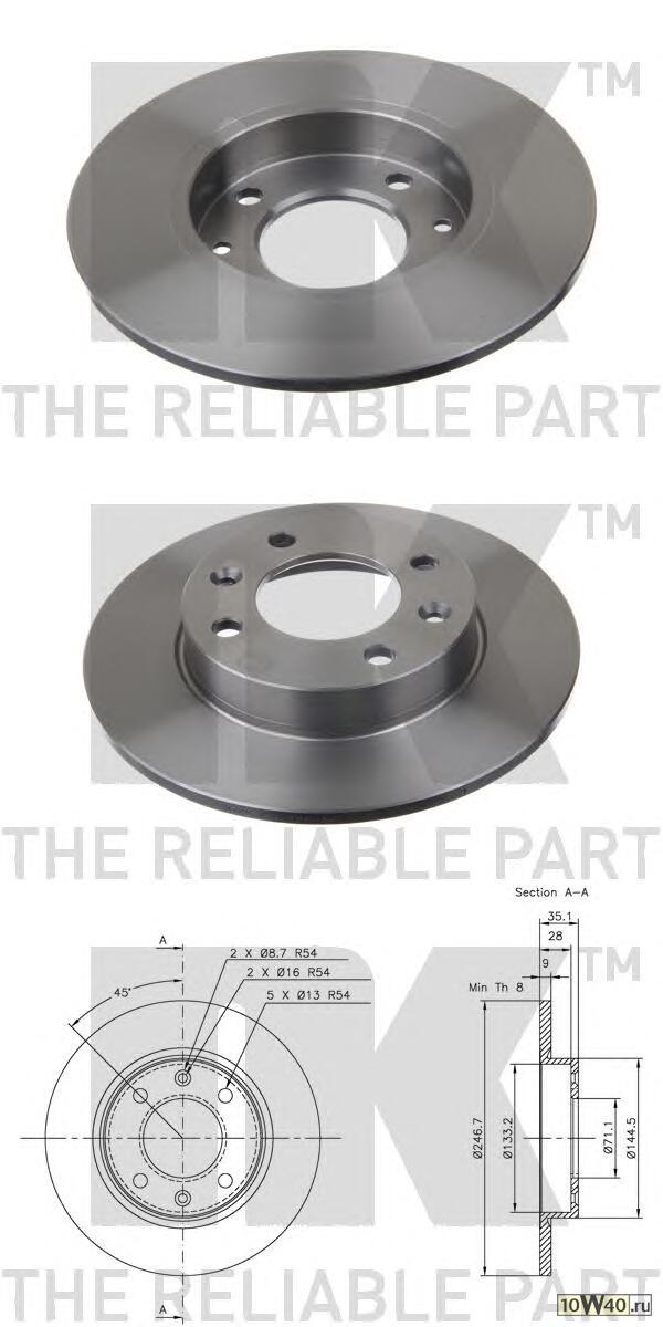 диск тормозной задний\ citroen xsara, peugeot 307 1.4-2.0hdi 01>