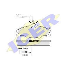ICER 181107-700 (425131 / 425268) колодки дисковые передние диск 14''\ Peugeot (Пежо) 406 1.6 / 1.8 &16v / 1.9td 16v 95-04