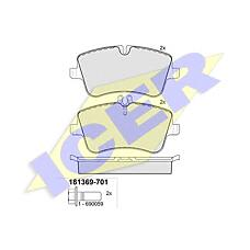 ICER 181369-701 (0034202620 / 0034205920 / 0034202520) колодки дисковые передние \ mb w203 1.8 / 2.0 / 2.0cdi / 2.2cdi 00>